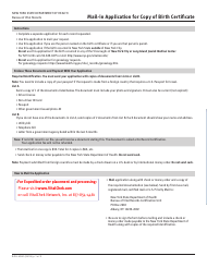 "Form DOH-4380 ""Mail-In Application for Copy of Birth Certificate"" - New York"
