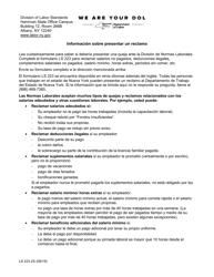 """Formulario LS223S """"Formulario De Queja Sobre Normas Laborales"""" - New York (Spanish)"""