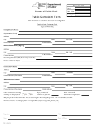 "Form PW-5 ""Public Complaint Form"" - New York"