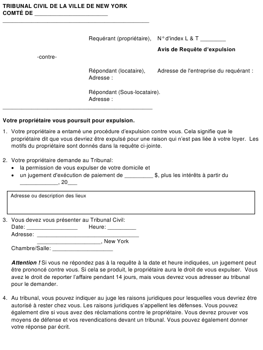 """""""Notice of Nonpayment Petition"""" - New York City (French) Download Pdf"""