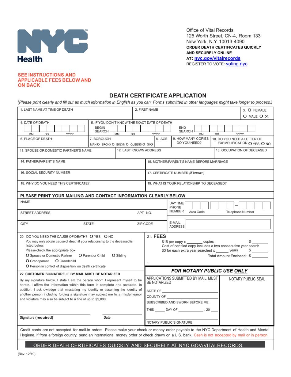 certificate death york application pdf printable template templateroller