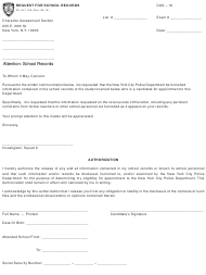 "Form CAS-16 (PD407-169) ""Request for School Records"" - New York City"
