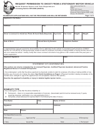 "Form SFN6096 ""Request Permission to Shoot From a Stationary Motor Vehicle"" - North Dakota"