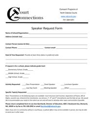 """Speaker Request Form"" - North Dakota"