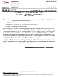 "Form COM3637 (REPL-19-0044) ""Non-resident Real Estate Licensee Consent to Service of Process"" - Ohio"