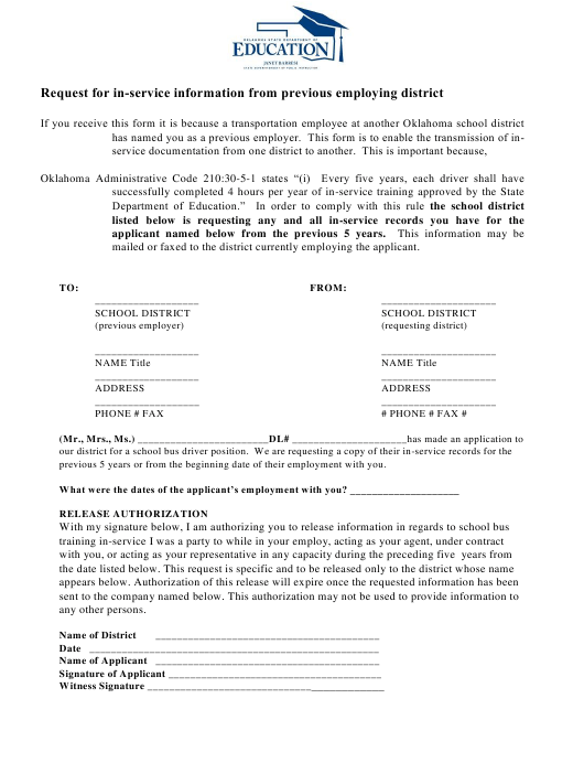 """""""Request for in-Service Information From Previous Employing District"""" - Oklahoma Download Pdf"""