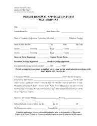 """Permit Renewal Application Form"" - Oklahoma"