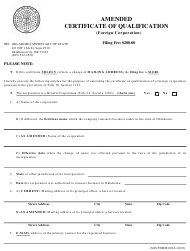 """SOS Form 0014 """"Amended Certificate of Qualification (Foreign Corporation)"""" - Oklahoma"""