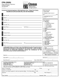 """Commercial Pesticide Applicator (CPA) Application Form"" - Oregon, 2020"