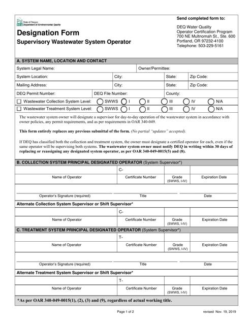 """Designation Form Supervisory Wastewater System Operator"" - Oregon Download Pdf"