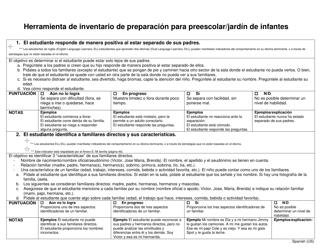 """""""Herramienta De Inventario De Preparacion Para Preescolar/Jardin De Infantes"""" - Pennsylvania (Spanish)"""