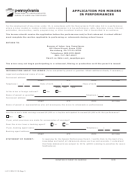 "Form LLC-12 ""Application for Minors in Performances"" - Pennsylvania"