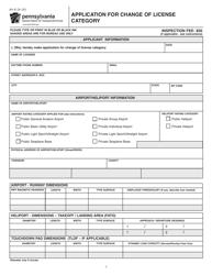 """Form AV-8 """"Application for Change of License Category"""" - Pennsylvania"""
