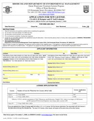 """Application for New License Class I, Ii Designer and IV Soil Evaluator"" - Rhode Island"