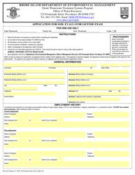 """Application for Soil Evaluator License Exam"" - Rhode Island"