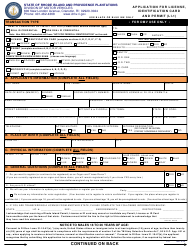 "Form LI-1 ""Application for License, Identification Card and Permit"" - Rhode Island"