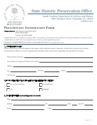 """Preliminary Information Form"" - South Carolina"