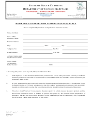 "SCDCA Form PEO-09 ""Workers' Compensation Affidavit of Insurance"" - South Carolina"