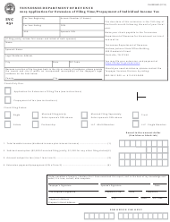 "Form INC251 (RV-R0003601) ""Application for Extension of Filing Time/Prepayment of Individual Income Tax"" - Tennessee, 2019"