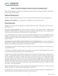 """Application for Malt Tasting Permit"" - Vermont"