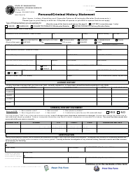 "Form BLS-700-301 ""Personal/Criminal History Statement (For Liquor, Lottery, Gambling and Cigarette/Tobacco Wholesaler/Retailer Endorsements)"" - Washington"