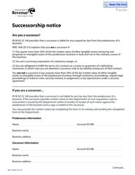 "Form REV27 0006 ""Successorship Notice Form"" - Washington"