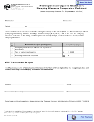 "Form REV82 2104 ""Washington State Cigarette Wholesalers Stamping Allowance Computation Worksheet"" - Washington"