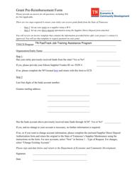 """Grant Pre-reimbursement Form"" - Tennessee"