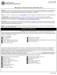 """Form K-911-2063 """"Release of Confidential Information"""" - Texas"""