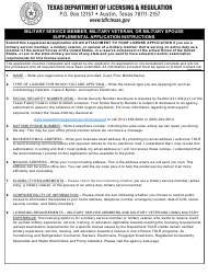 "TDLR Form MIL001 ""Military Service Member, Military Veteran or Military Spouse Supplemental Application"" - Texas"