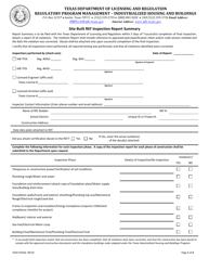 "TDLR Form IHB075 ""Site-Built Ref Inspection Report Summary"" - Texas"