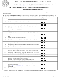 "Form IHB233 ""Ihb - Installation Inspection - Checklists for Industrialized Housing"" - Texas"