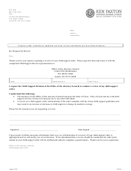 """Form 3F002E """"Child Support Review Questionnaire"""" - Texas"""