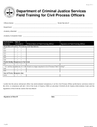 """Form CP-1 """"Field Training for Civil Process Service Officers"""" - Virginia"""