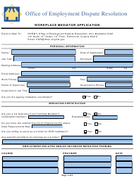 "EDR Form I ""Workplace Mediator Application"" - Virginia"