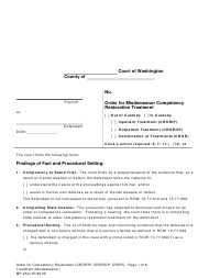 "Form MP250 ""Order for Competency Restoration Treatment (Misdemeanor)"" - Washington"