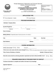"Form FDACS-03586 ""Lp Gas Continuing Education Course Approval Application"" - Florida"