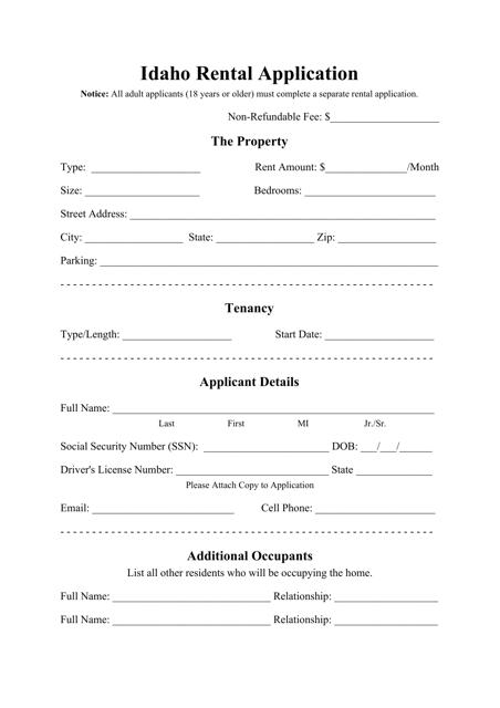 """Rental Application Form"" - Idaho Download Pdf"