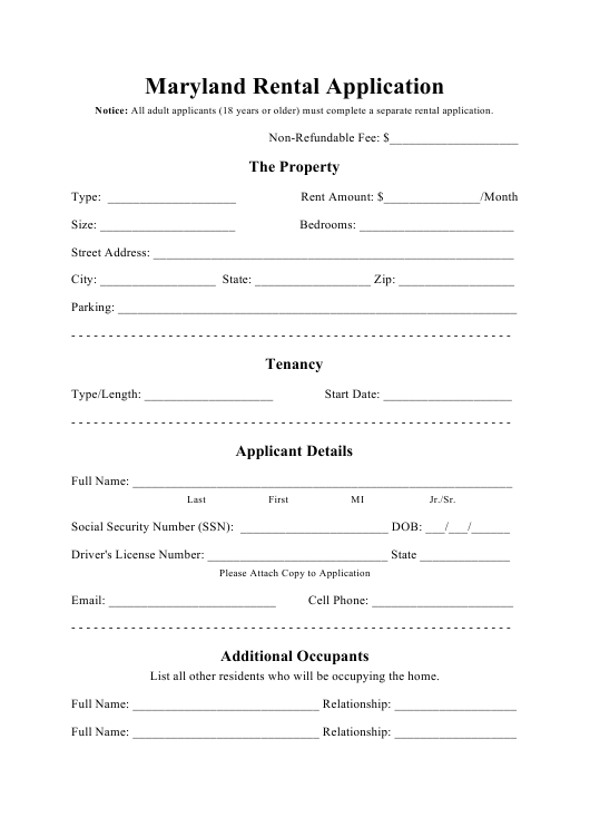 Maryland Rental Application Form Download Printable Pdf Templateroller