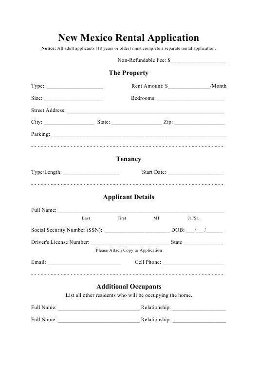 """""""Rental Application Form"""" - New Mexico Download Pdf"""