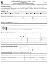 "Form 400 ""Title Application"" - South Carolina"