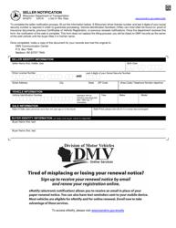 """Form MV2870 """"Seller Notification"""" - Wisconsin"""