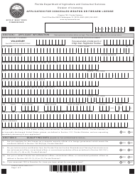 """Form FDACS-16036 """"Application for Concealed Weapon or Firearm License"""" - Florida"""