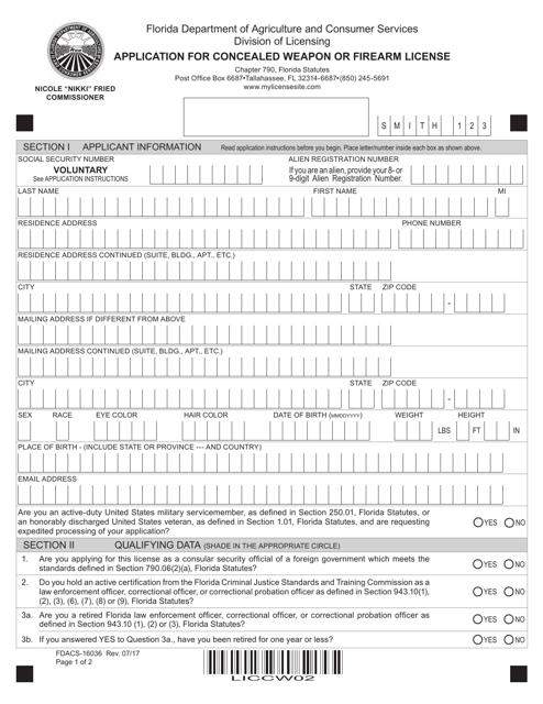 Form FDACS-16036  Printable Pdf