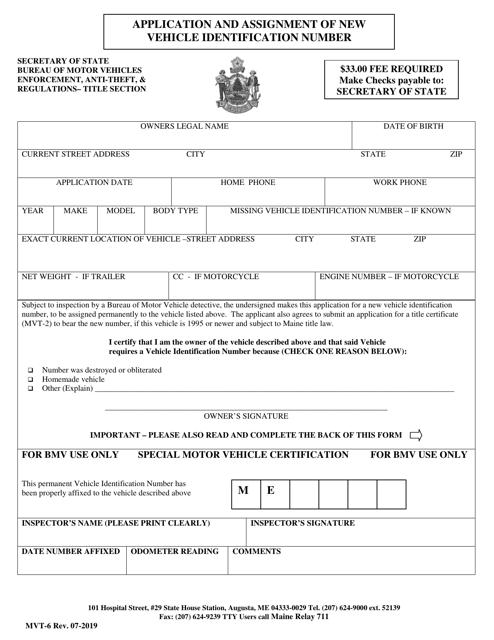 Form MVT-6  Printable Pdf