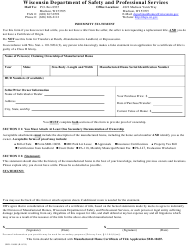 "Form SBD-10688 ""Indemnity Statement"" - Wisconsin"