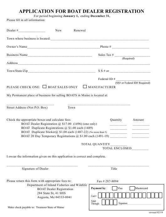 """Application for Boat Dealer Registration"" - Maine Download Pdf"