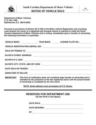 "Form 416 ""Notice of Vehicle Sold"" - South Carolina"
