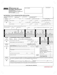 "Form LB014-05 ""Watercraft Title & Registration Application"" - Minnesota"