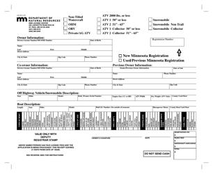"Form LB-001-05 ""DNR Universal Registration Form"" - Minnesota"